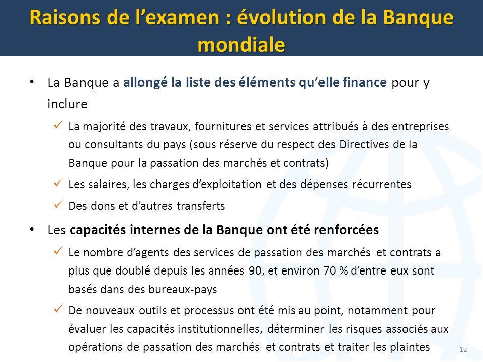 La Banque a allongé la liste des éléments quelle finance pour y inclure La majorité des travaux, fournitures et services attribués à des entreprises o