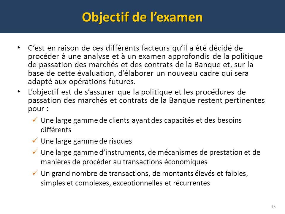 Objectif de lexamen 15 Cest en raison de ces différents facteurs quil a été décidé de procéder à une analyse et à un examen approfondis de la politiqu