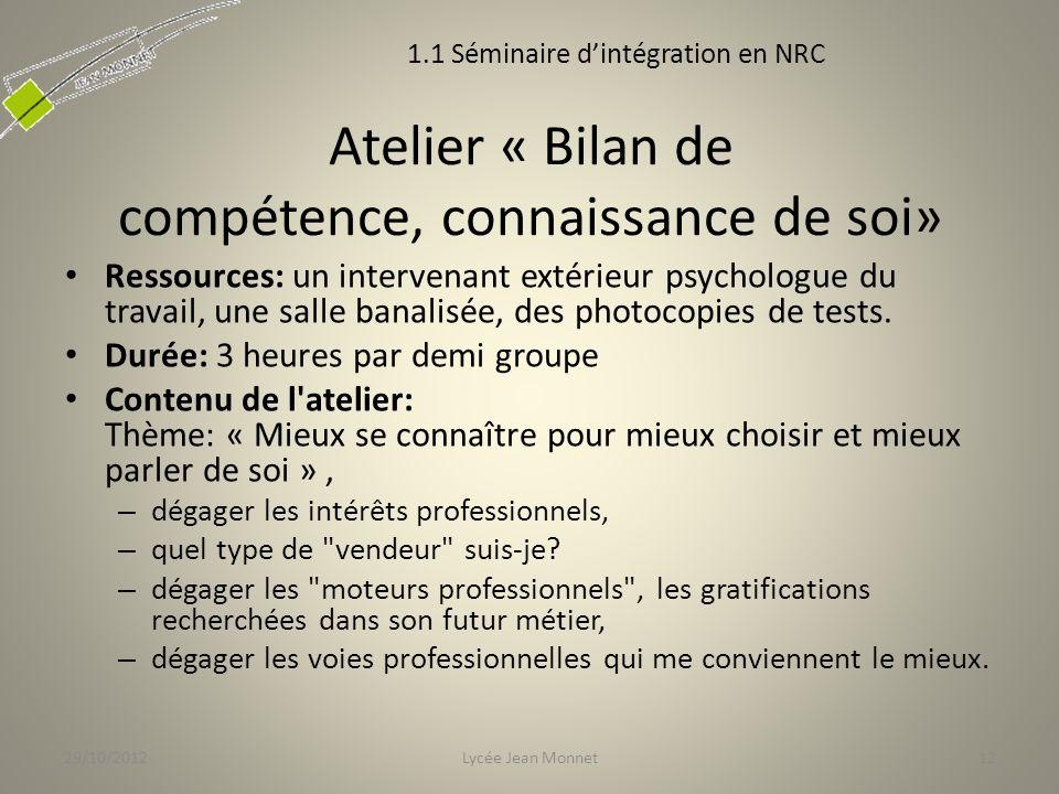 Atelier « Bilan de compétence, connaissance de soi» Ressources: un intervenant extérieur psychologue du travail, une salle banalisée, des photocopies de tests.