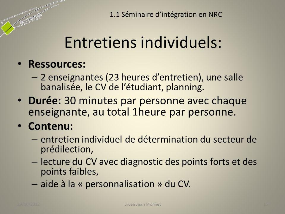 Entretiens individuels: Ressources: – 2 enseignantes (23 heures dentretien), une salle banalisée, le CV de létudiant, planning.