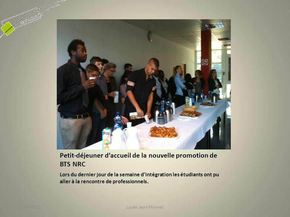 Petit-déjeuner daccueil de la nouvelle promotion de BTS NRC Lors du dernier jour de la semaine dintégration les étudiants ont pu aller à la rencontre de professionnels.