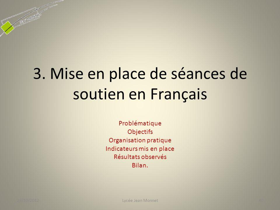 3. Mise en place de séances de soutien en Français Problématique Objectifs Organisation pratique Indicateurs mis en place Résultats observés Bilan. 29