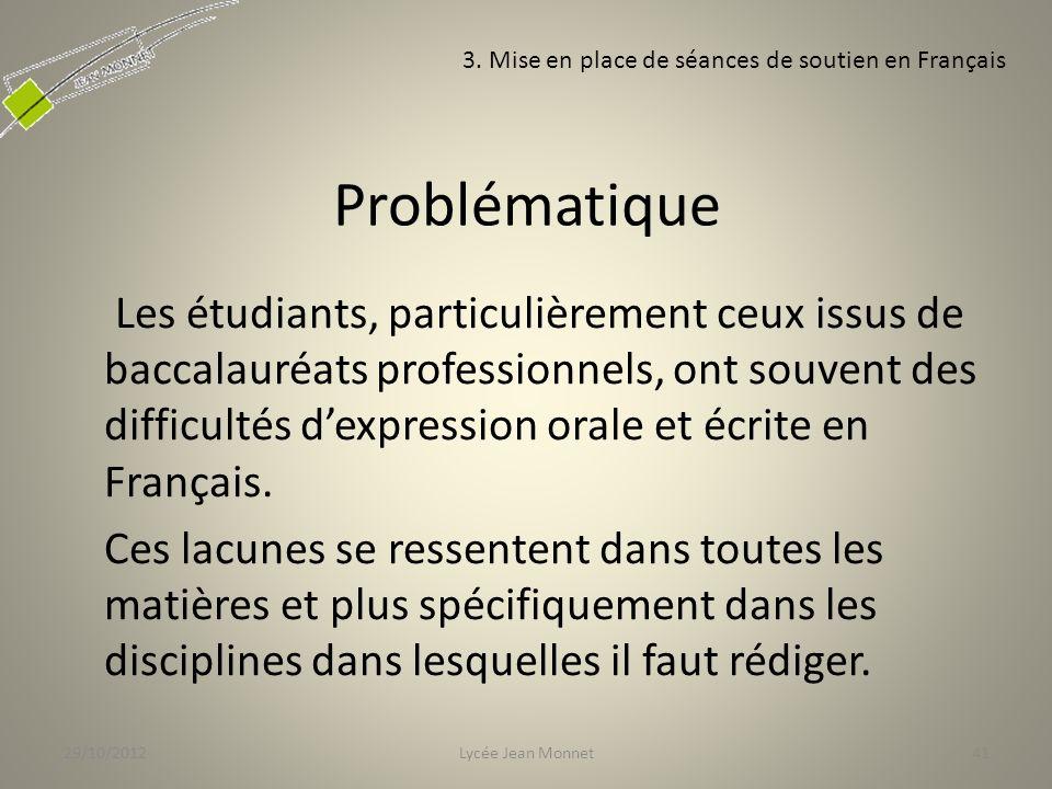Problématique Les étudiants, particulièrement ceux issus de baccalauréats professionnels, ont souvent des difficultés dexpression orale et écrite en Français.