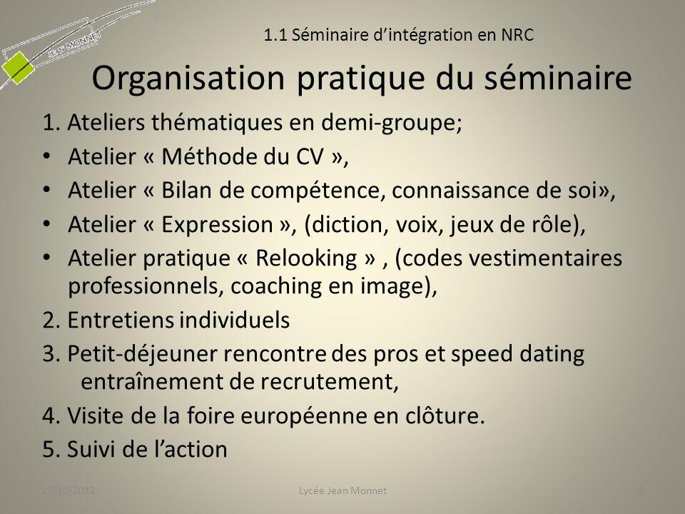 Organisation pratique du séminaire 1.
