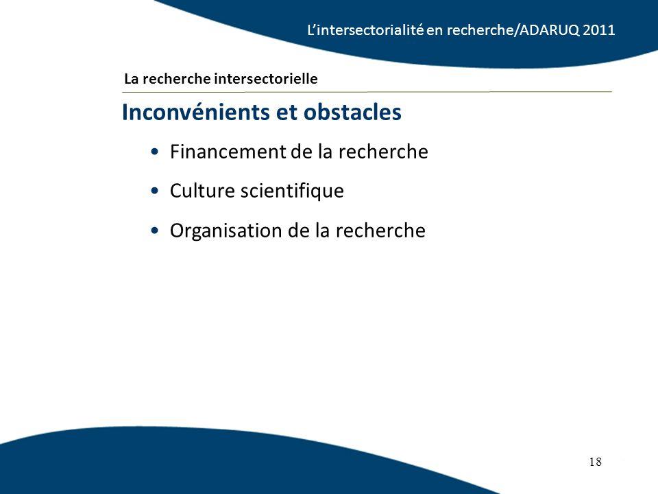 18 Financement de la recherche Culture scientifique Organisation de la recherche Inconvénients et obstacles 18 La recherche intersectorielle Lintersectorialité en recherche/ADARUQ 2011