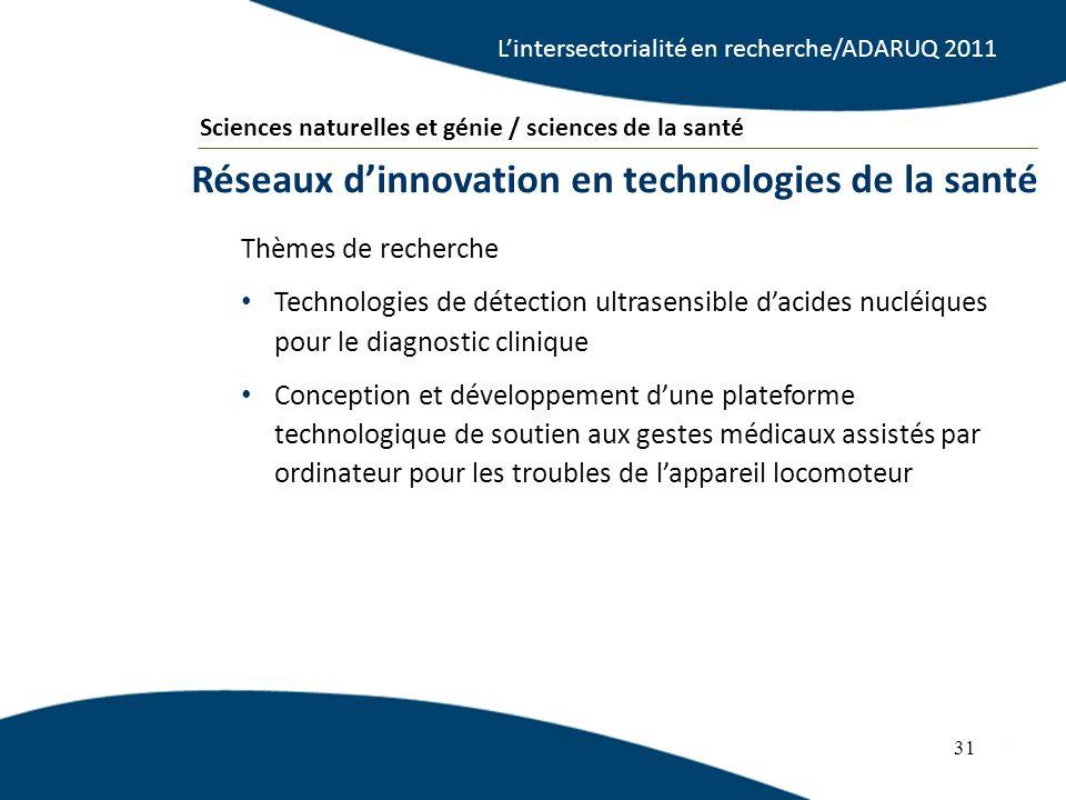31 Thèmes de recherche Technologies de détection ultrasensible dacides nucléiques pour le diagnostic clinique Conception et développement dune platefo