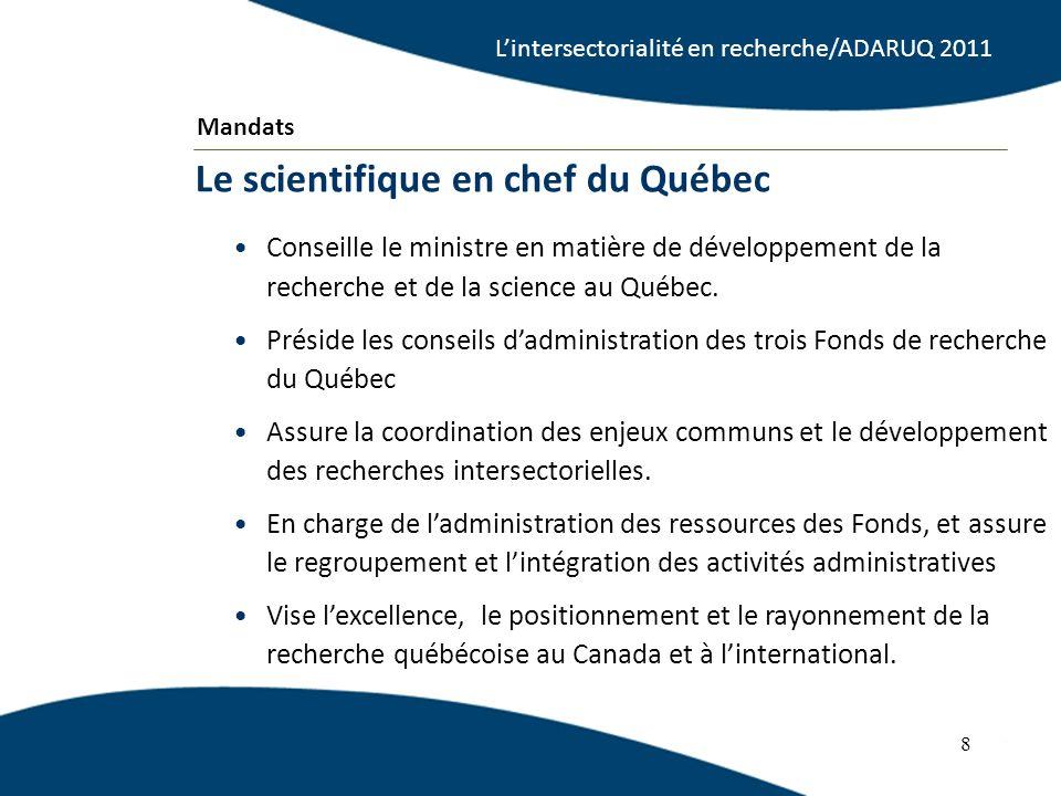 Conseille le ministre en matière de développement de la recherche et de la science au Québec. Préside les conseils dadministration des trois Fonds de