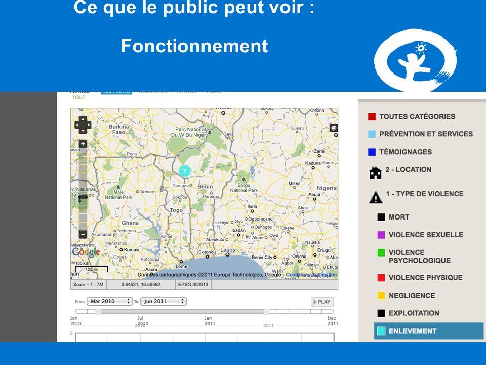 VAC Benin Ushahidi Ce que le public peut voir : Fonctionnement