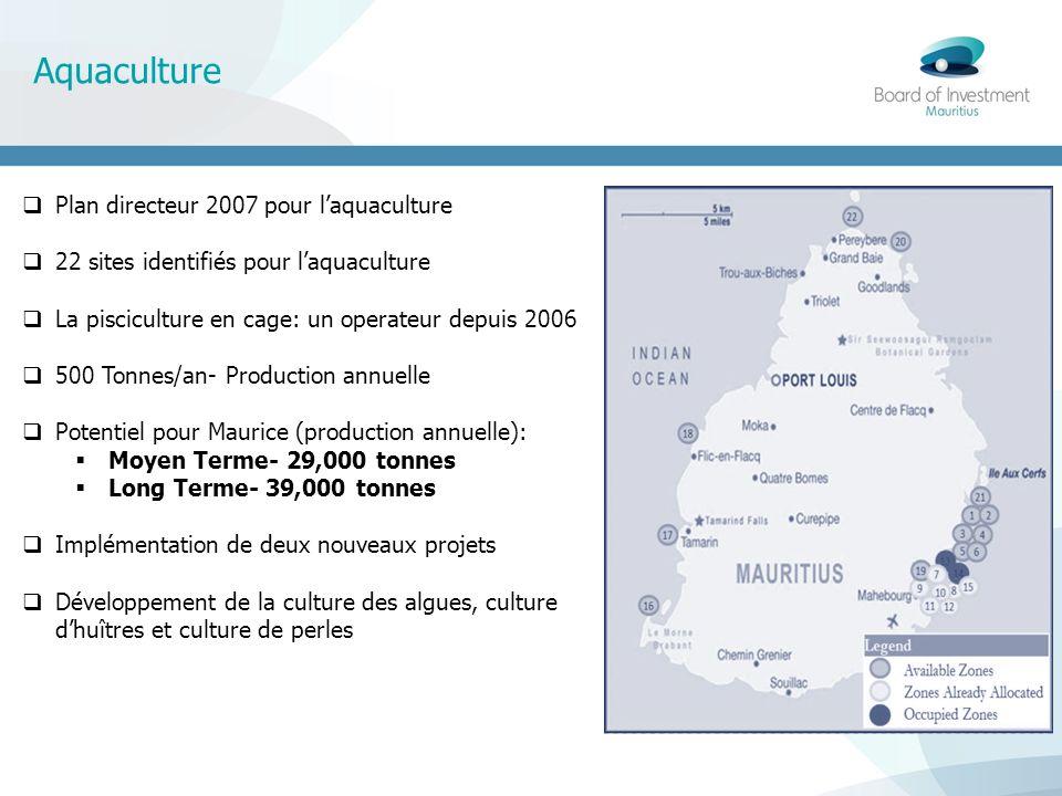 Aquaculture Plan directeur 2007 pour laquaculture 22 sites identifiés pour laquaculture La pisciculture en cage: un operateur depuis 2006 500 Tonnes/a