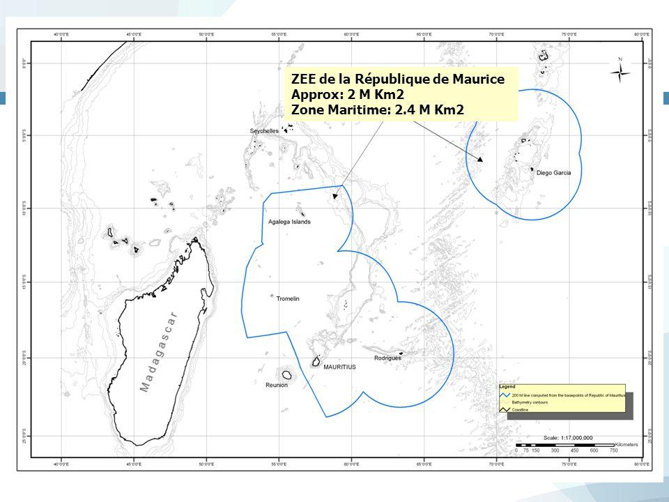 ZEE de la République de Maurice Approx: 2 M Km2 Zone Maritime: 2.4 M Km2