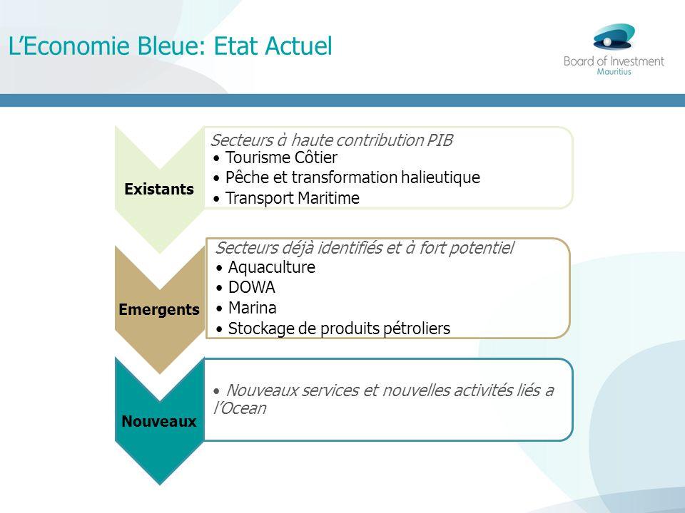 LEconomie Bleue: Etat Actuel Existants Tourisme Côtier Pêche et transformation halieutique Transport Maritime Emergents Aquaculture DOWA Marina Stocka