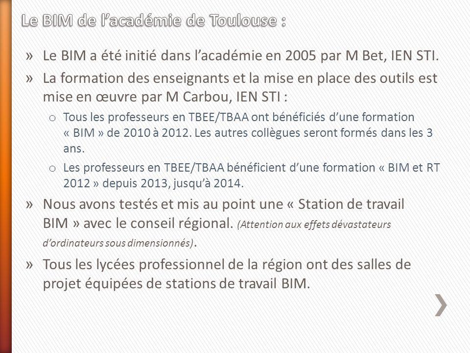 » Le BIM a été initié dans lacadémie en 2005 par M Bet, IEN STI. » La formation des enseignants et la mise en place des outils est mise en œuvre par M
