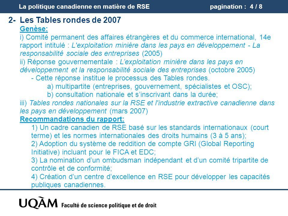 pagination : 5 / 8 2-Les Tables rondes de 2007 (suite) Réponse du gouvernement Stratégie nationale Renforcer lavantage canadien (2009) reposant sur 4 piliers: 1) Centre dexcellence sur la responsabilité sociale des entreprises; 2) Nomination dun conseillé à la RSE; 3) La promotion auprès des entreprises canadiennes des standards internationaux; 4) Lamélioration de la capacité des PED pour accroître les retombées positives des IDE et des capacités institutionnelles de gestion du secteur extractif.