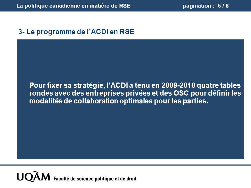 3- Le programme de lACDI en RSE Niveaux et stratégies dinterventions Multilatéral: Promotion du renforcement des standards internationaux et de leur adoption.