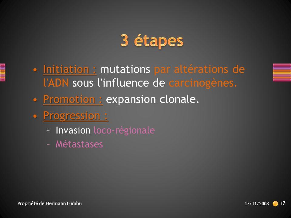 Initiation :Initiation : mutations par altérations de l ADN sous l influence de carcinogènes.
