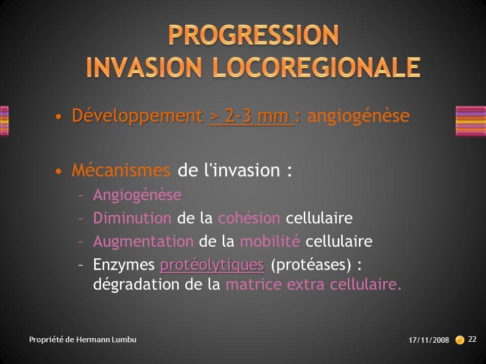 Développement> 2-3 mm :Développement > 2-3 mm : angiogénèse Mécanismes de l invasion : –Angiogénèse –Diminution de la cohésion cellulaire –Augmentation de la mobilité cellulaire protéolytiques –Enzymes protéolytiques (protéases) : dégradation de la matrice extra cellulaire.