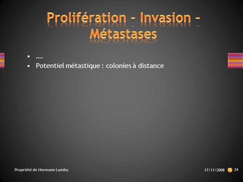 …. Potentiel métastique : colonies à distance 17/11/2008 24 Propriété de Hermann Lumbu