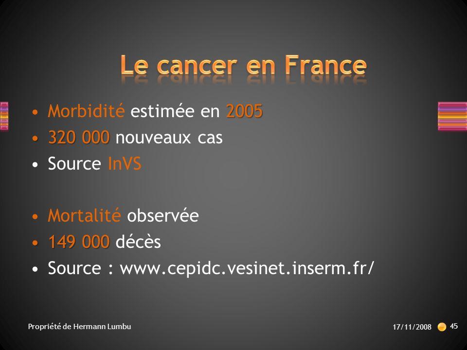 2005Morbidité estimée en 2005 320 000320 000 nouveaux cas Source InVS Mortalité observée 149 000149 000 décès Source : www.cepidc.vesinet.inserm.fr/ 17/11/2008 45 Propriété de Hermann Lumbu