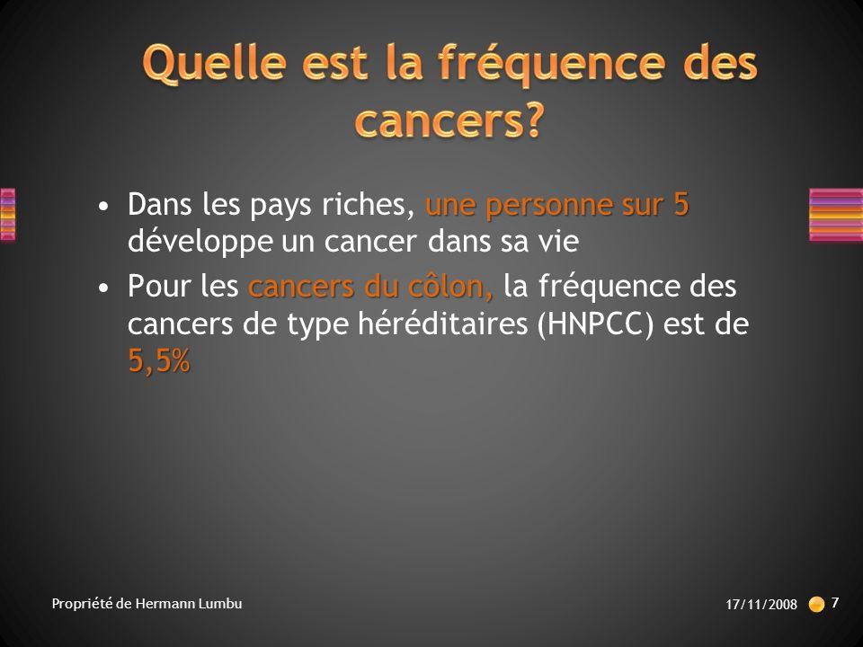 une personne sur 5Dans les pays riches, une personne sur 5 développe un cancer dans sa vie cancers du côlon, 5,5%Pour les cancers du côlon, la fréquence des cancers de type héréditaires (HNPCC) est de 5,5% 17/11/2008 7 Propriété de Hermann Lumbu