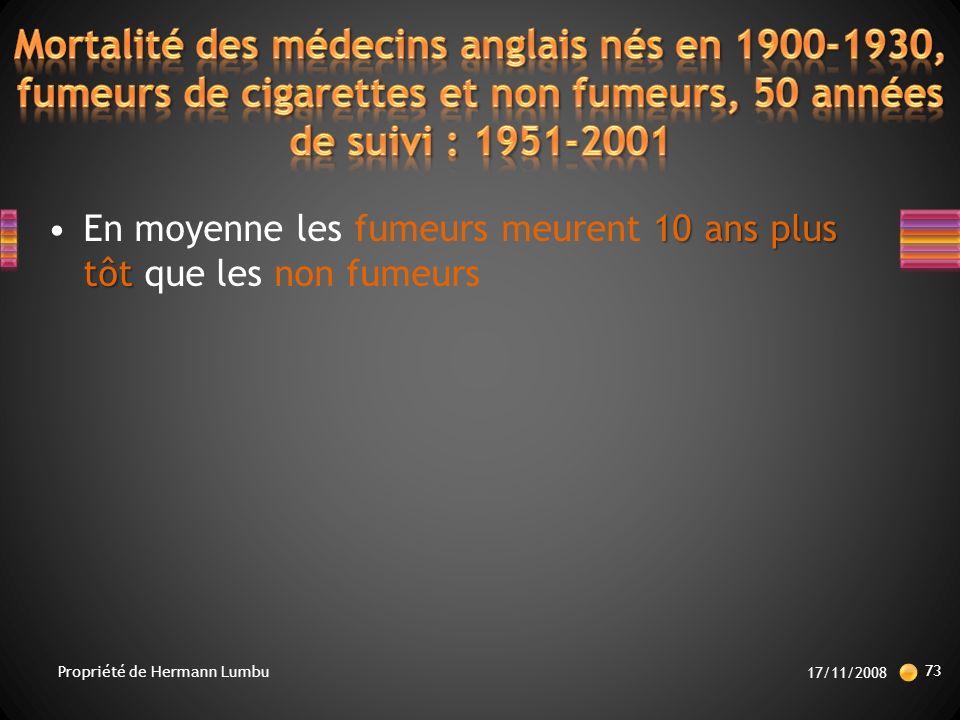 10 ans plus tôtEn moyenne les fumeurs meurent 10 ans plus tôt que les non fumeurs 17/11/2008 73 Propriété de Hermann Lumbu