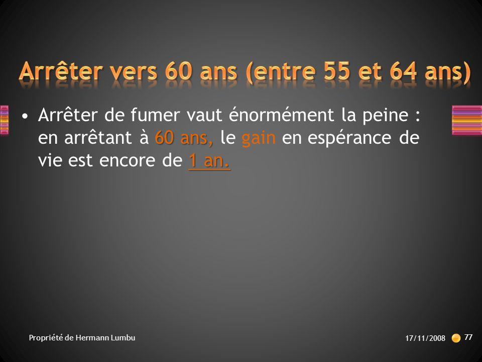 60 ans, 1 an.Arrêter de fumer vaut énormément la peine : en arrêtant à 60 ans, le gain en espérance de vie est encore de 1 an.