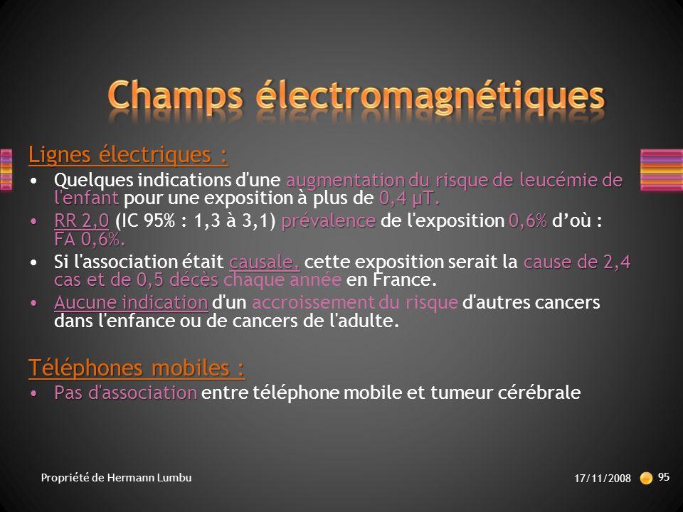 Lignes électriques : augmentation du risque de leucémie de l enfant 0,4 µT.Quelques indications d une augmentation du risque de leucémie de l enfant pour une exposition à plus de 0,4 µT.