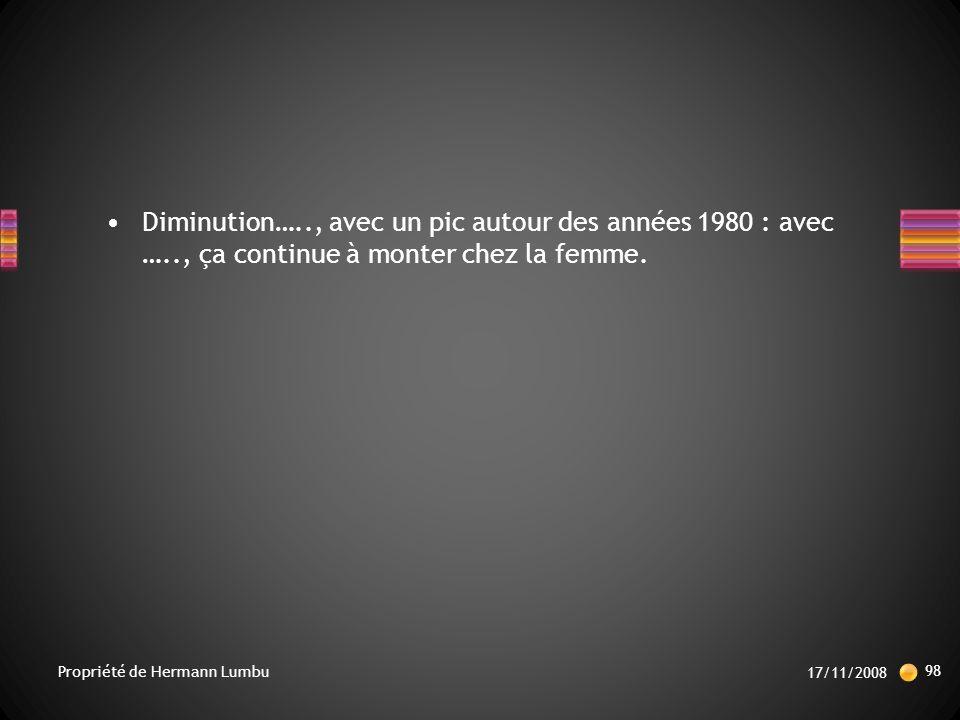 Diminution….., avec un pic autour des années 1980 : avec ….., ça continue à monter chez la femme.