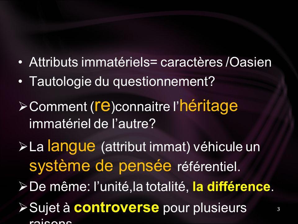 Attributs immatériels= caractères /Oasien Tautologie du questionnement.