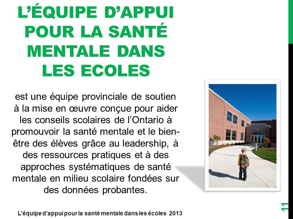 11 LÉQUIPE DAPPUI POUR LA SANTÉ MENTALE DANS LES ECOLES Léquipe dappui pour la santé mentale dans les écoles 2013 est une équipe provinciale de soutie