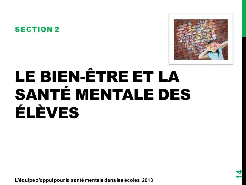 LE BIEN-ÊTRE ET LA SANTÉ MENTALE DES ÉLÈVES SECTION 2 14 Léquipe dappui pour la santé mentale dans les écoles 2013