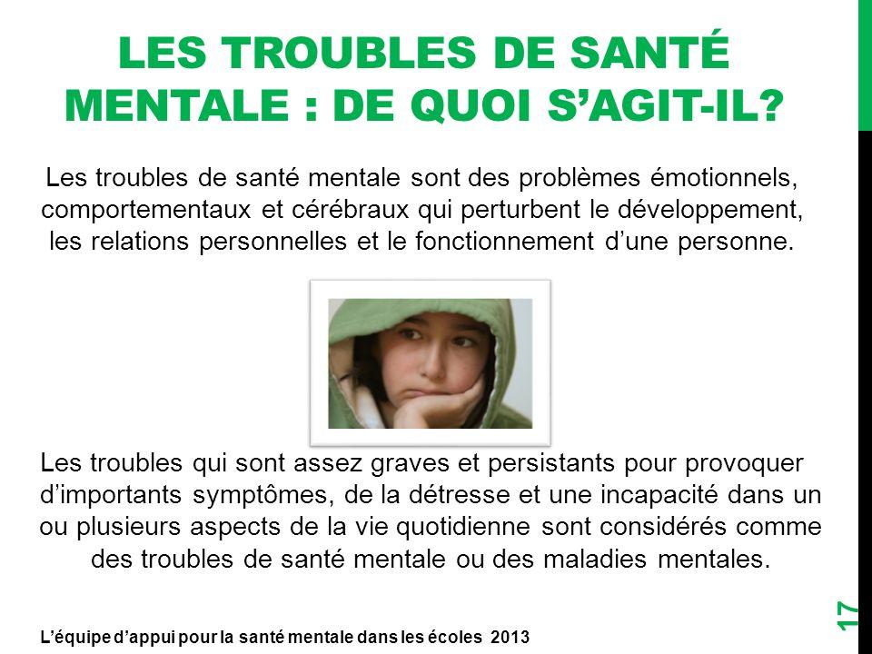 Les troubles de santé mentale sont des problèmes émotionnels, comportementaux et cérébraux qui perturbent le développement, les relations personnelles