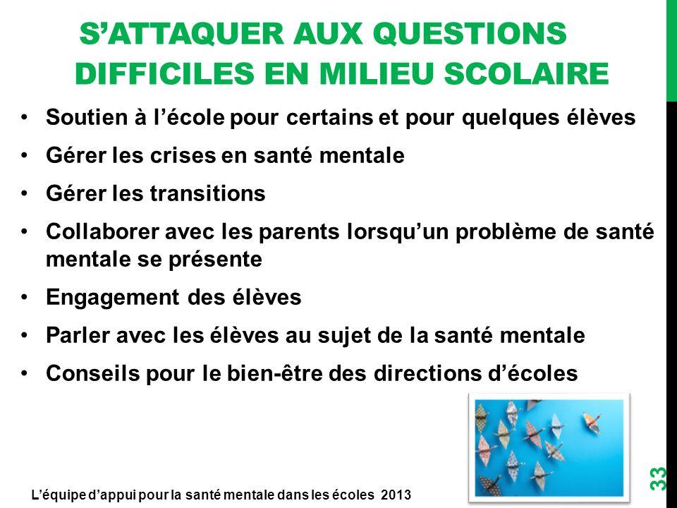 SATTAQUER AUX QUESTIONS DIFFICILES EN MILIEU SCOLAIRE Soutien à lécole pour certains et pour quelques élèves Gérer les crises en santé mentale Gérer l