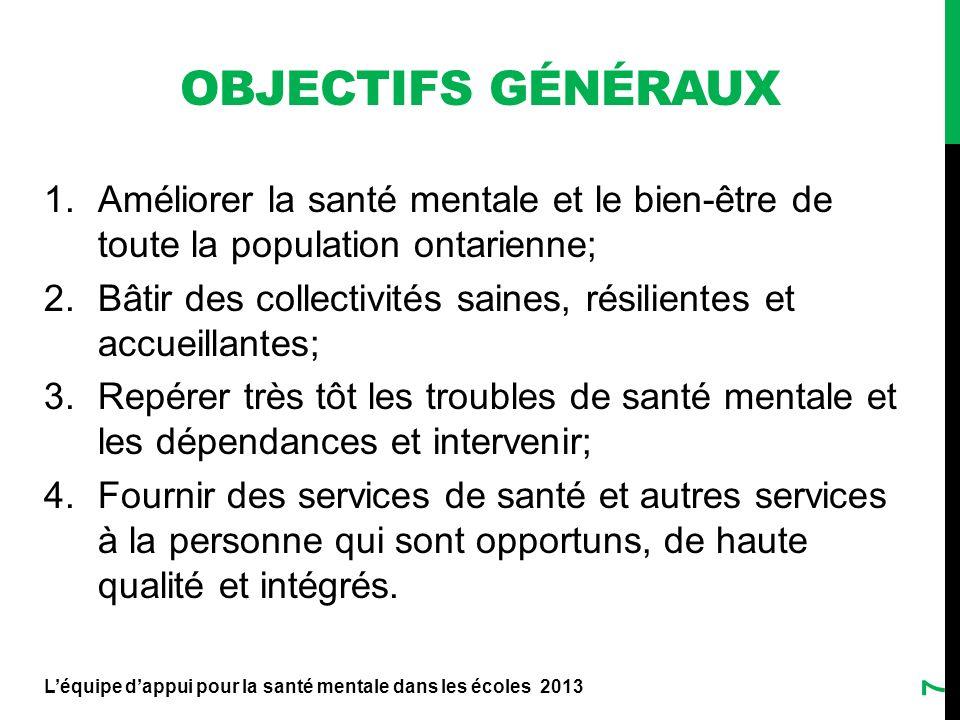 OBJECTIFS GÉNÉRAUX 1.Améliorer la santé mentale et le bien-être de toute la population ontarienne; 2.Bâtir des collectivités saines, résilientes et ac