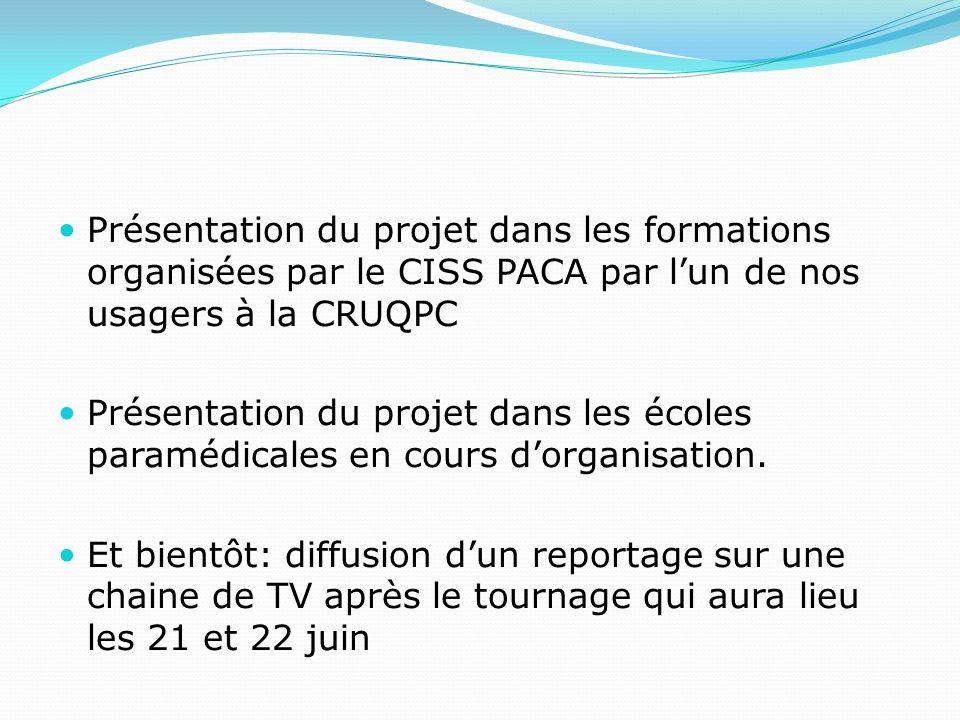 Présentation du projet dans les formations organisées par le CISS PACA par lun de nos usagers à la CRUQPC Présentation du projet dans les écoles paramédicales en cours dorganisation.
