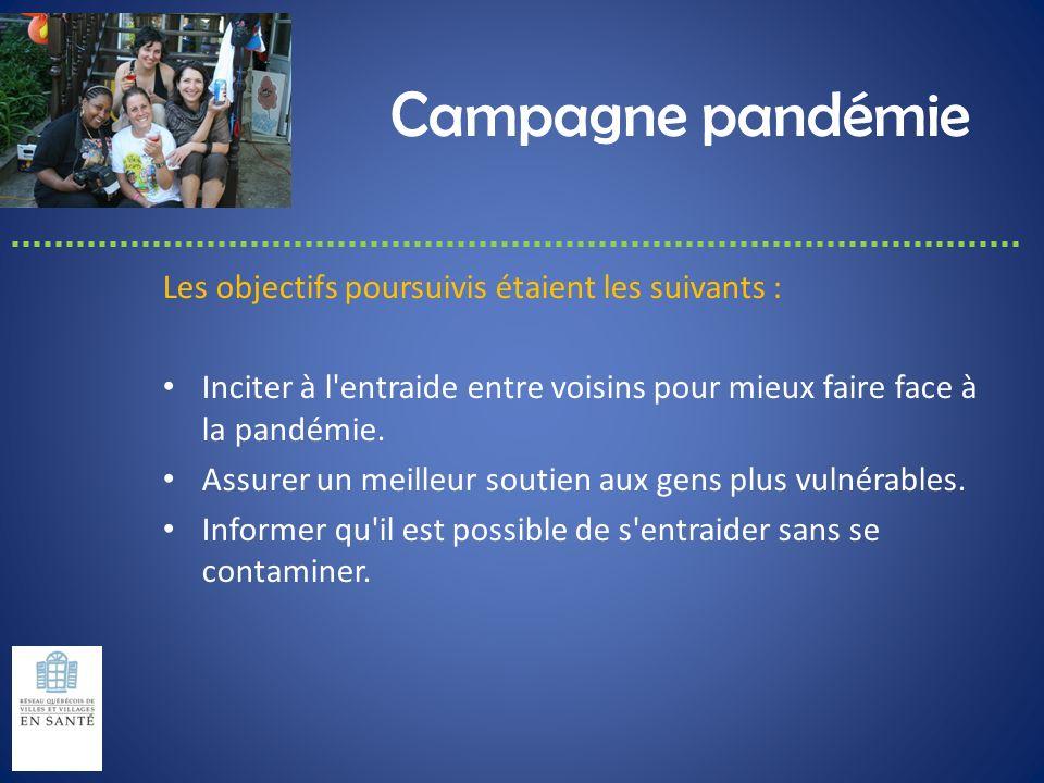 Campagne pandémie Les objectifs poursuivis étaient les suivants : Inciter à l'entraide entre voisins pour mieux faire face à la pandémie. Assurer un m