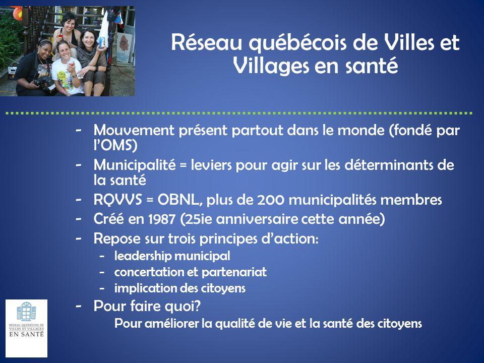 Réseau québécois de Villes et Villages en santé -Mouvement présent partout dans le monde (fondé par lOMS) -Municipalité = leviers pour agir sur les dé