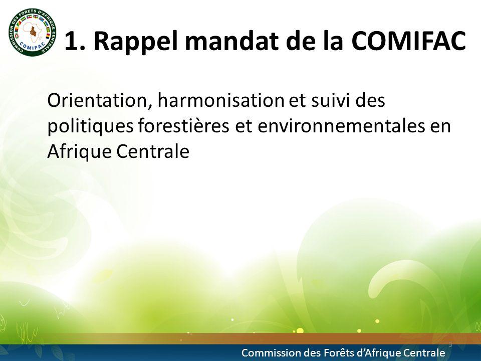 1. Rappel mandat de la COMIFAC Orientation, harmonisation et suivi des politiques forestières et environnementales en Afrique Centrale 3 Commission de