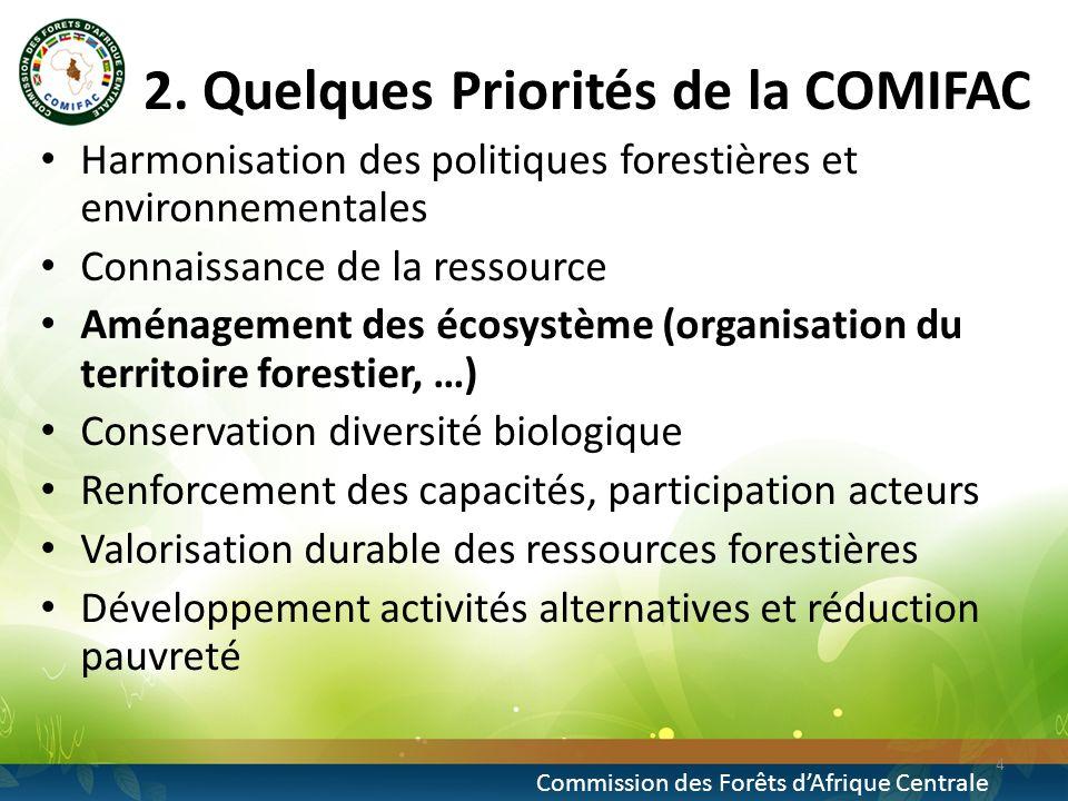 2. Quelques Priorités de la COMIFAC Harmonisation des politiques forestières et environnementales Connaissance de la ressource Aménagement des écosyst