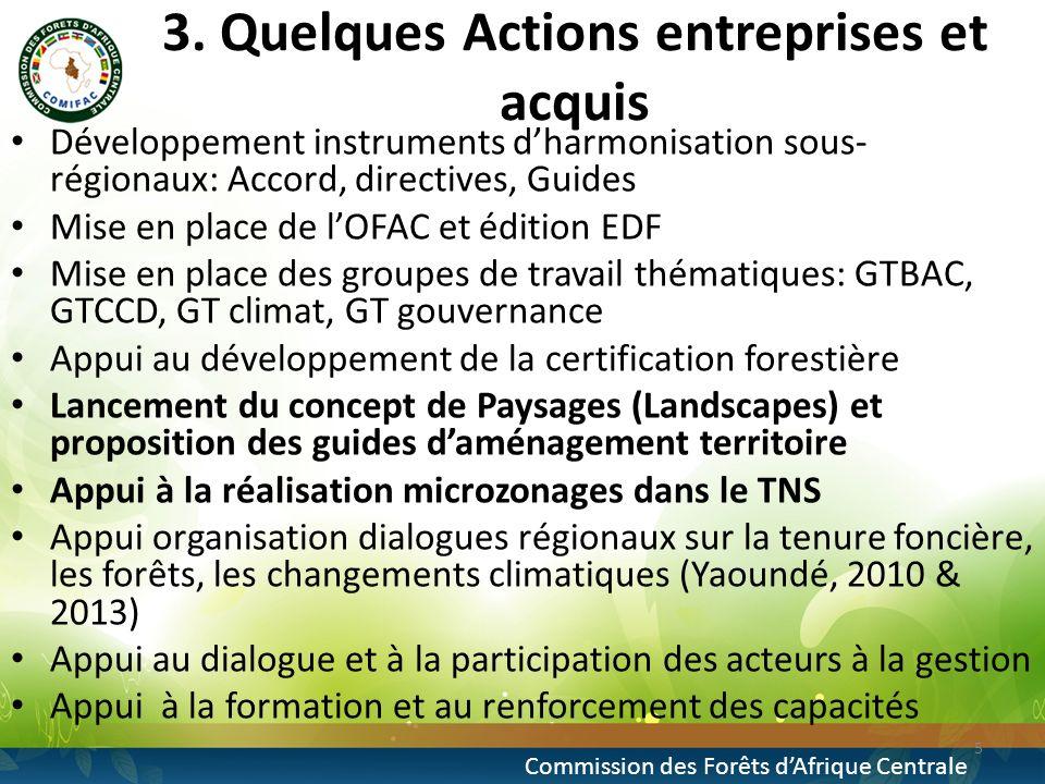 3. Quelques Actions entreprises et acquis Développement instruments dharmonisation sous- régionaux: Accord, directives, Guides Mise en place de lOFAC