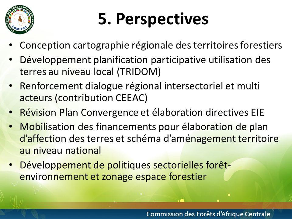 5. Perspectives Conception cartographie régionale des territoires forestiers Développement planification participative utilisation des terres au nivea