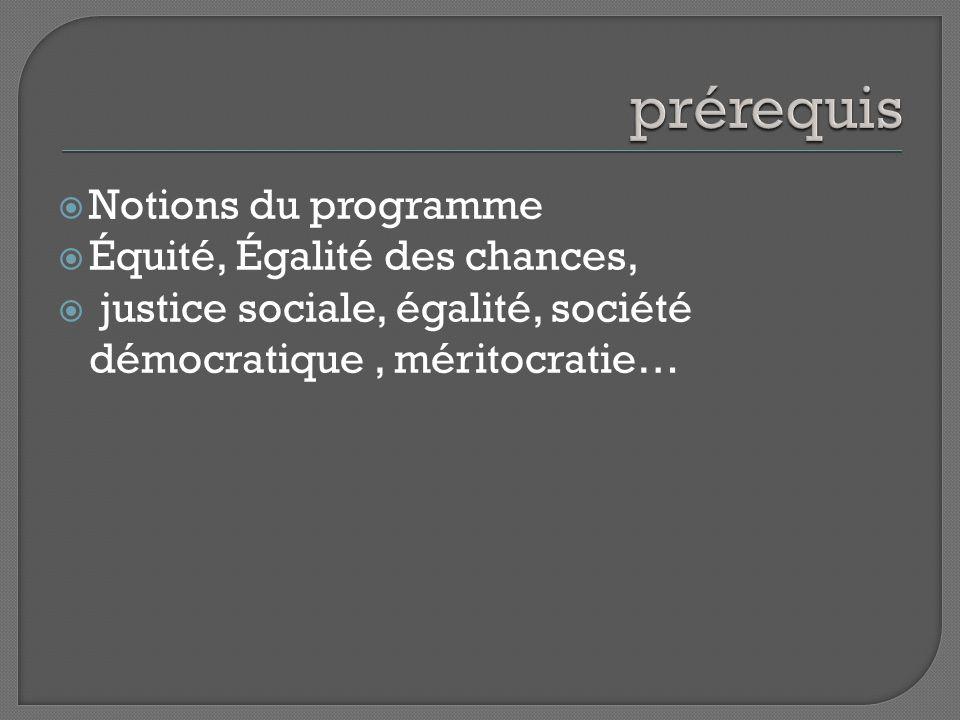 Notions du programme Équité, Égalité des chances, justice sociale, égalité, société démocratique, méritocratie…