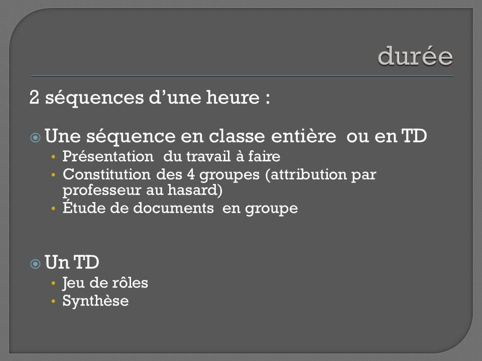 2 séquences dune heure : Une séquence en classe entière ou en TD Présentation du travail à faire Constitution des 4 groupes (attribution par professeur au hasard) Étude de documents en groupe Un TD Jeu de rôles Synthèse