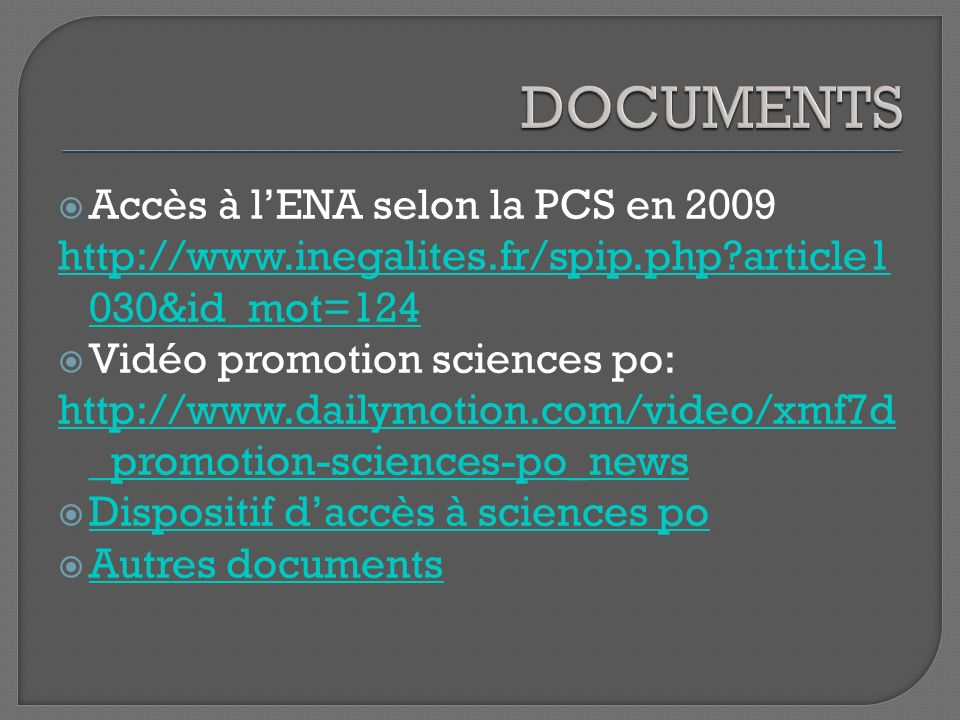 Accès à lENA selon la PCS en 2009 http://www.inegalites.fr/spip.php?article1 030&id_mot=124 Vidéo promotion sciences po: http://www.dailymotion.com/video/xmf7d _promotion-sciences-po_news Dispositif daccès à sciences po Autres documents