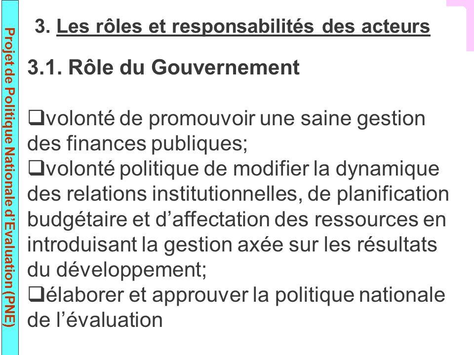 Projet de Politique Nationale dEvaluation (PNE) 3.1. Rôle du Gouvernement volonté de promouvoir une saine gestion des finances publiques; volonté poli
