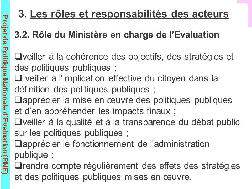 Projet de Politique Nationale dEvaluation (PNE) 3.2. Rôle du Ministère en charge de lEvaluation veiller à la cohérence des objectifs, des stratégies e