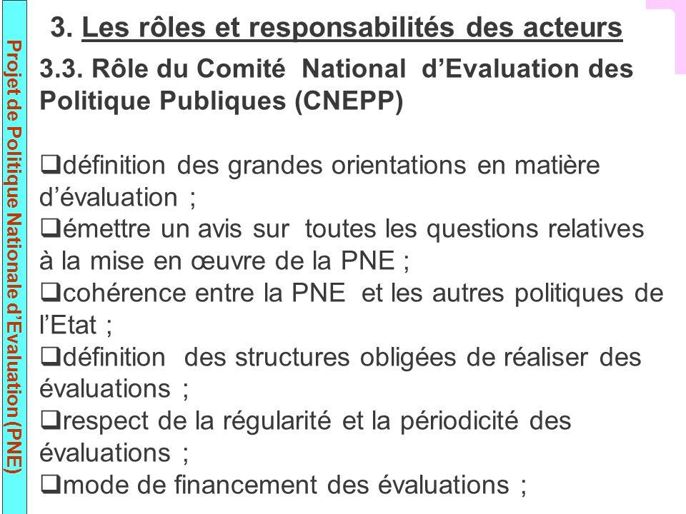 Projet de Politique Nationale dEvaluation (PNE) 3.3. Rôle du Comité National dEvaluation des Politique Publiques (CNEPP) définition des grandes orient