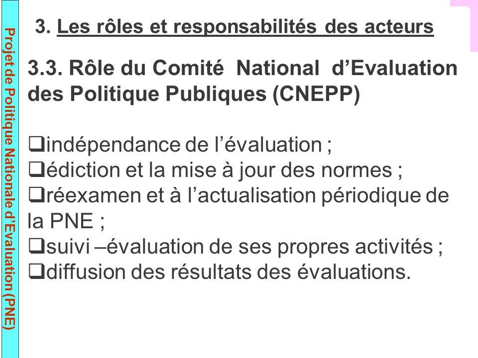 Projet de Politique Nationale dEvaluation (PNE) 3.3. Rôle du Comité National dEvaluation des Politique Publiques (CNEPP) indépendance de lévaluation ;