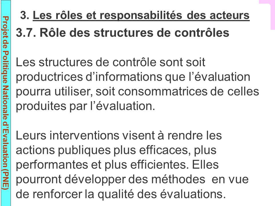 Projet de Politique Nationale dEvaluation (PNE) 3.7. Rôle des structures de contrôles Les structures de contrôle sont soit productrices dinformations