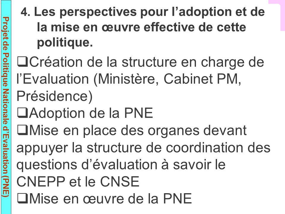 Projet de Politique Nationale dEvaluation (PNE) Création de la structure en charge de lEvaluation (Ministère, Cabinet PM, Présidence) Adoption de la P