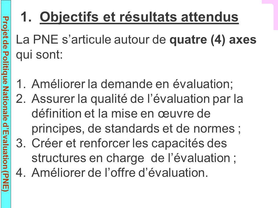 Projet de Politique Nationale dEvaluation (PNE) La PNE sarticule autour de quatre (4) axes qui sont: 1.Améliorer la demande en évaluation; 2.Assurer l